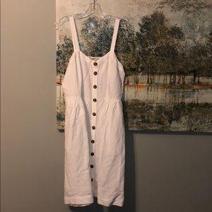 🆕Loft white button linen dress